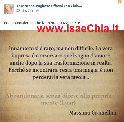 Teresanna Pugliese Per San Valentino Pubblica Su Facebook Una Frase