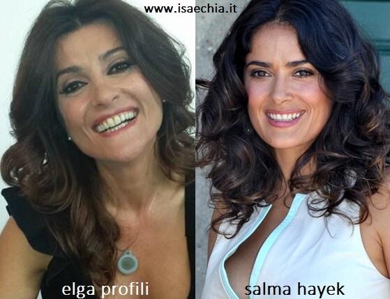 Somiglianza tra Elga Profili e Salma Hayek