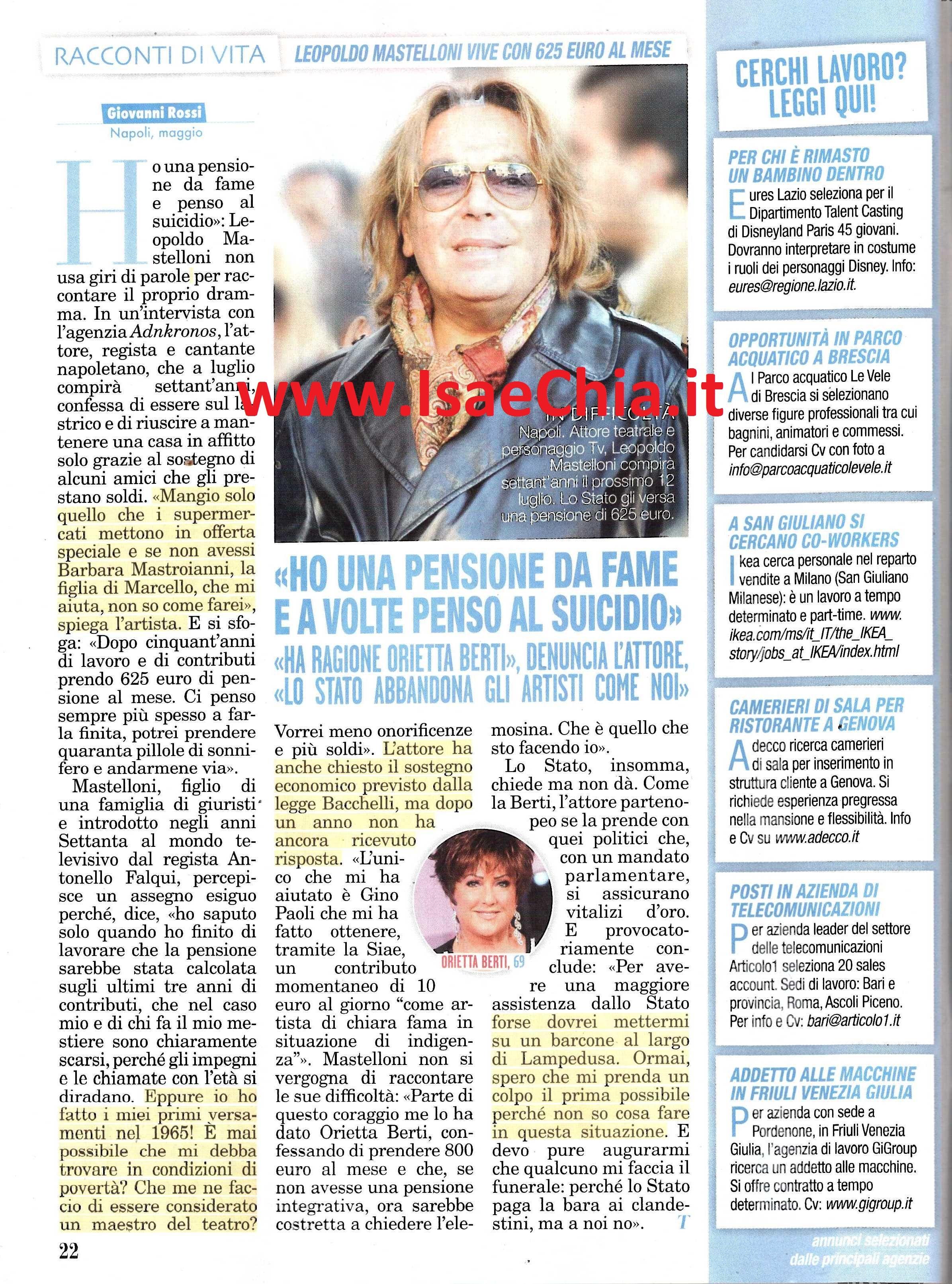 """Leopoldo Mastelloni """"Ho Una Pensione Da Fame E A Volte Penso Al"""