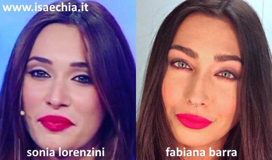 Somiglianza tra Fabiana Barra e Sonia Lorenzini