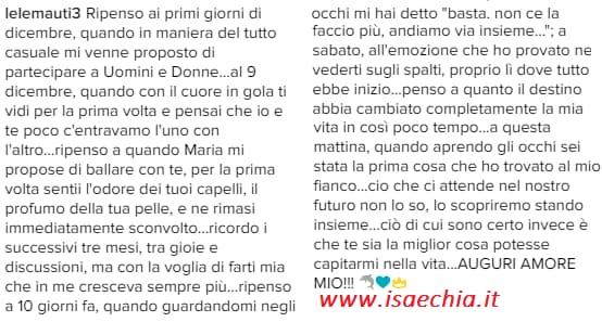 Uomini e Donne', i romantici auguri di Emanuele Mauti per il