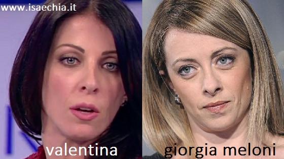 Somiglianza tra Valentina e Giorgia Meloni