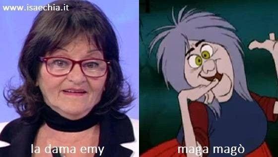 Somiglianza tra Emy, dama del Trono over di 'Uomini e Donne', e Maga Magò
