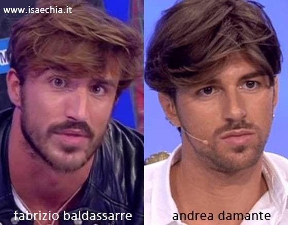 Somiglianza tra Fabrizio Baldassarre e Andrea Damante