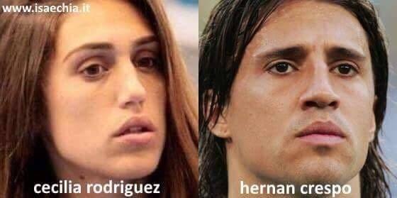 Somiglianza tra Cecilia Rodriguez e Hernan Crespo