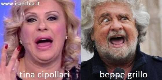 Somiglianza tra Tina Cipollari e Beppe Grillo