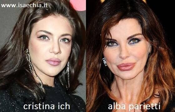 omiglianza tra Cristina Ich e Alba Parietti