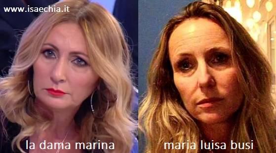 Somiglianza tra Marina, dama del Trono over di 'Uomini e Donne', e Maria Luisa Busi