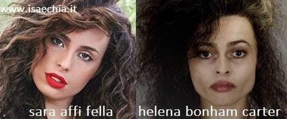 Somiglianza tra Sara Affi Fella e Helena Bonham Carter