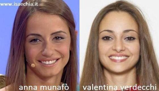 Somiglianza tra Anna Munafò e Valentina Verdecchi