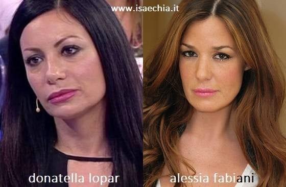 Somiglianza tra Donatella Lopar e Alessia Fabiani