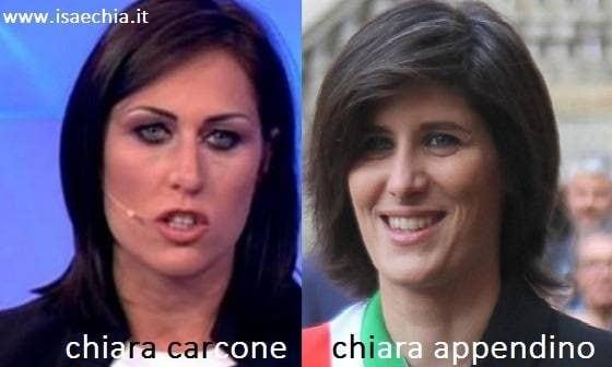 Somiglianza tra Chiara Carcone e Chiara Appendino