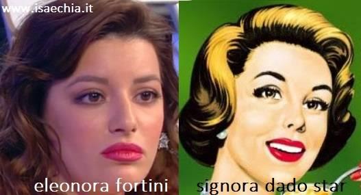 Somiglianza tra Eleonora Fortini e la signora del dado Star