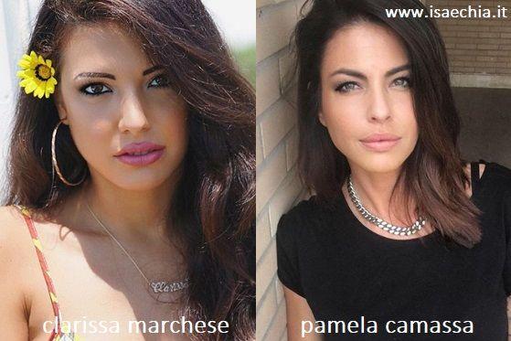 Somiglianza tra Clarissa Marchese e Pamela Camassa