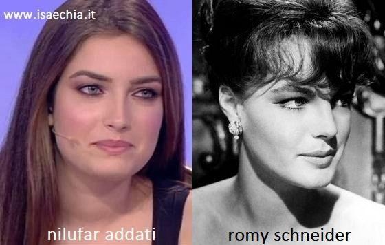 Somiglianza tra Nilufar Addati e Romy Schneider