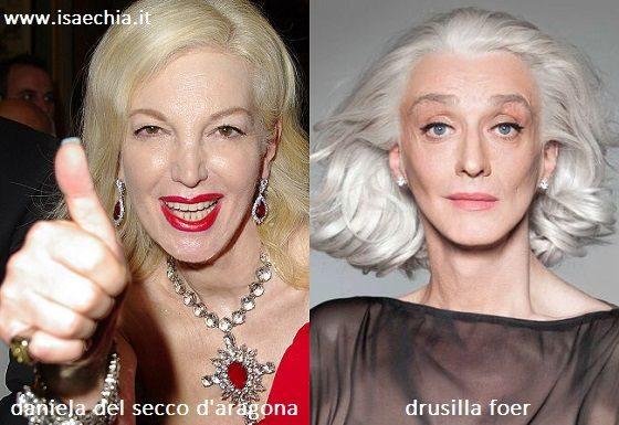 Somiglianza tra Daniela Del Secco d'Aragona e Drusilla Foer