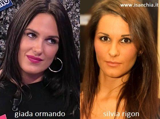 Somiglianza tra Giada Ormando e Silvia Rigon
