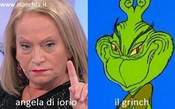 Somiglianza tra Angela Di Iorio e il Grinch