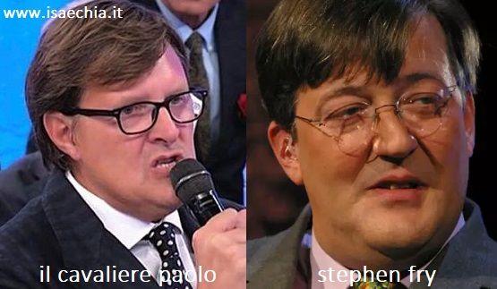 Somiglianza tra Paolo, cavaliere del Trono over di 'Uomini e Donne', e Stephen Fry
