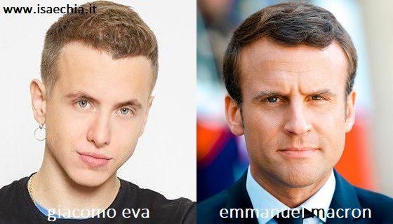 Somiglianza tra Giacomo Eva e Emmanuel Macron