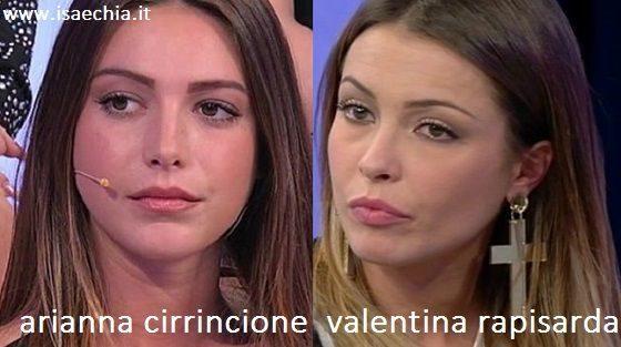 Somiglianza tra Arianna Cirrincione e Valentina Rapisarda