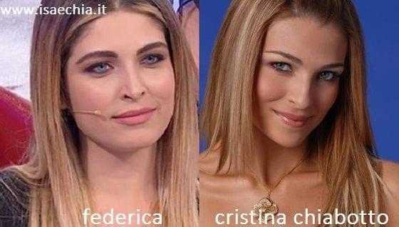 omiglianza tra Federica e Cristina Chiabotto