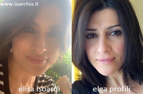 Somiglianza tra Elisa Isoardi e Elga Profili