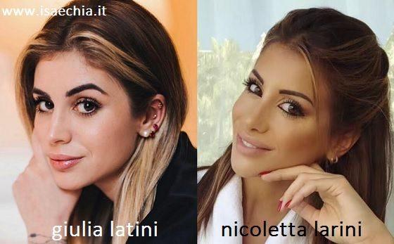 Somiglianza tra Giulia Latini e Nicoletta Larini