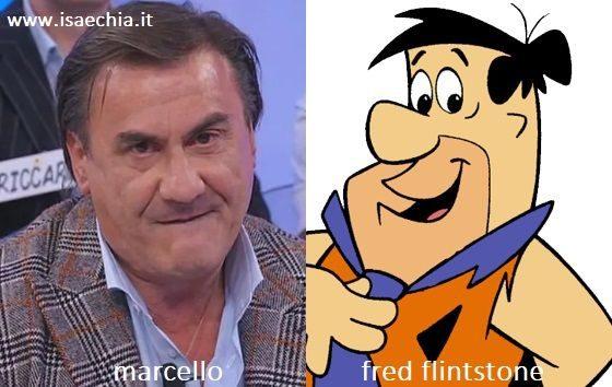 Somiglianza tra Marcello, cavaliere del Trono over di 'Uomini e Donne', e Fred Flintstone