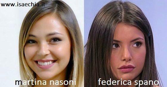 Somiglianza tra Martina Nasoni e Federica Spano