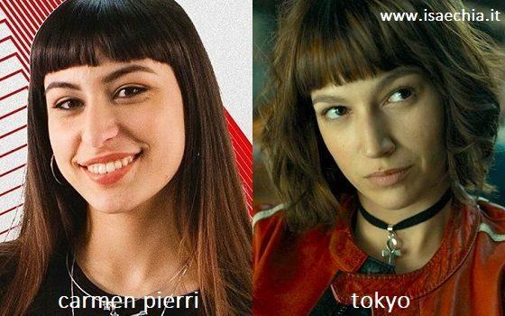Somiglianza tra Carmen Pierri e Tokyo de 'La Casa di Carta'