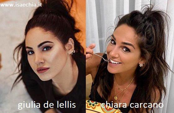 Somiglianza tra Giulia De Lellis e Chiara Carcano