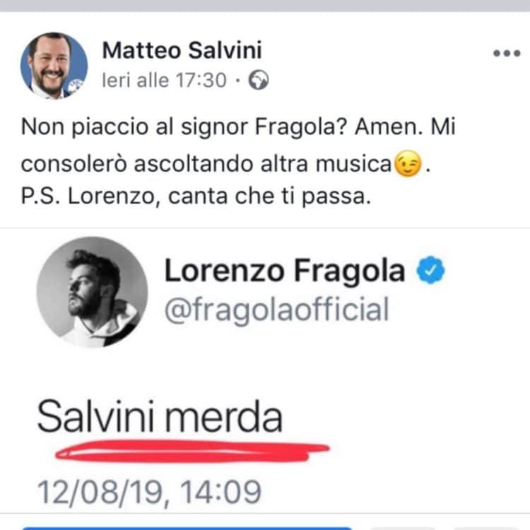 Lorenzo Fragola insulta Matteo Salvini: