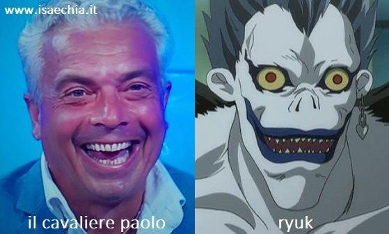 Somiglianza tra Paolo, cavaliere del Trono over di 'Uomini e Donne', e Ryuk di 'Death Note'