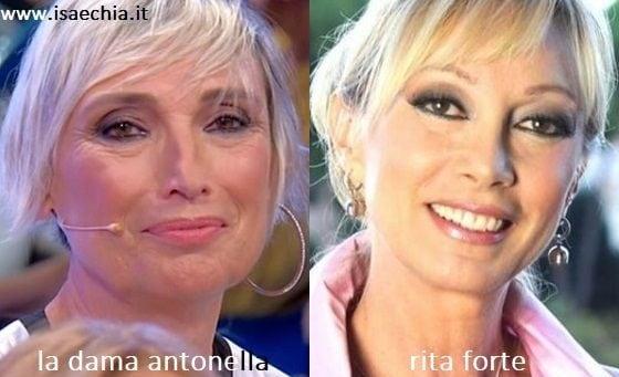 Somiglianza tra Antonella, dama del Trono over di 'Uomini e Donne', e Rita Forte