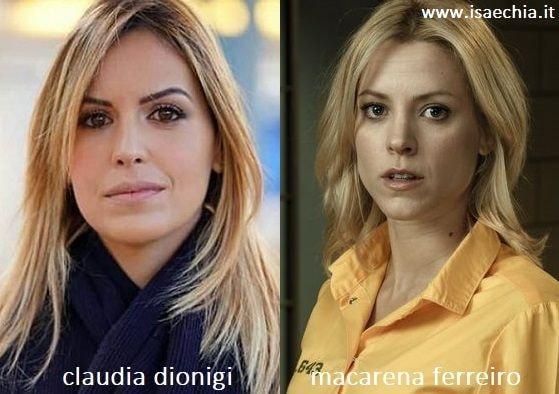 Somiglianza tra Claudia Dionigi e Macarena Ferreiro di 'Vis a Vis'