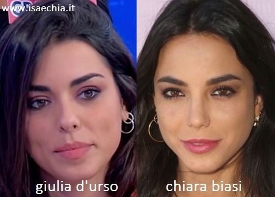 Somiglianza tra Giulia D'Urso e Chiara Biasi