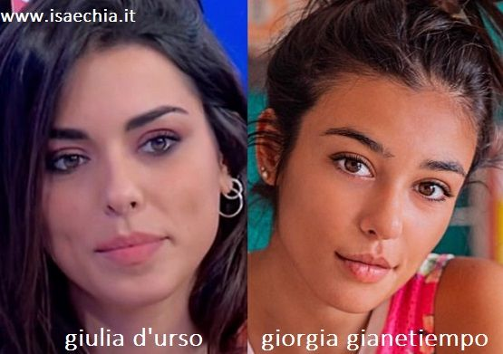 Somiglianza tra Giulia D'Urso e Giorgia Gianetiempo