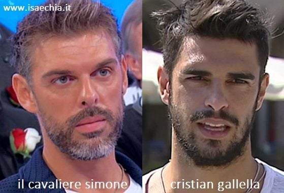 Somiglianza tra Simone, cavaliere del Trono over di 'Uomini e Donne', e Cristian Gallella