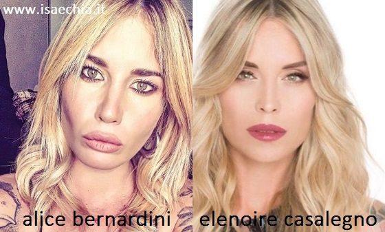 Somiglianza tra Alice Bernardini ed Elenoire Casalegno