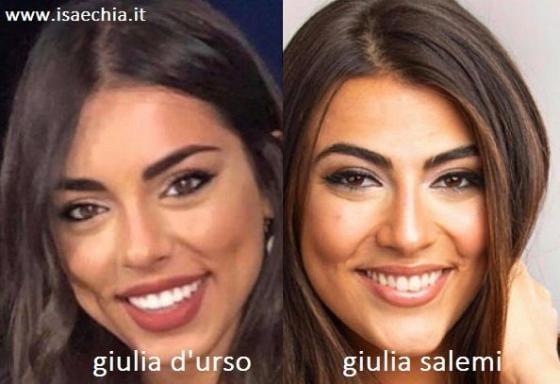 Somiglianza tra Giulia D'Urso e Giulia Salemi