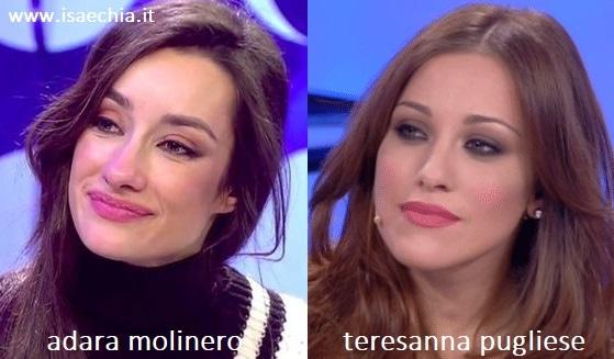 Somiglianza tra Adara Molinero e Teresanna Pugliese
