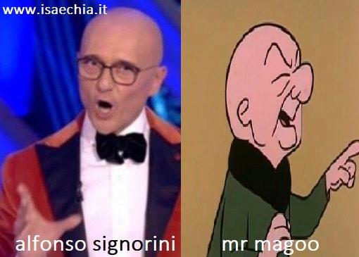 Somiglianza tra Alfonso Signorini e Mr Magoo