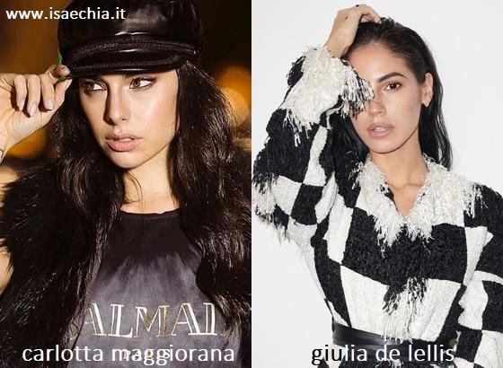 Somiglianza tra Carlotta Maggiorana e Giulia De Lellis