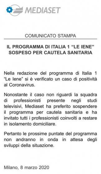 Comunicato Mediaset