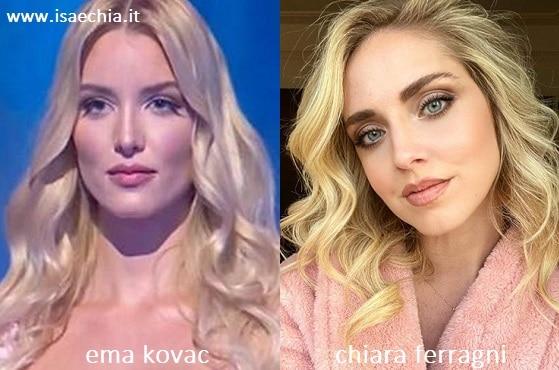 Somiglianza tra Ema Kovac e Chiara Ferragni