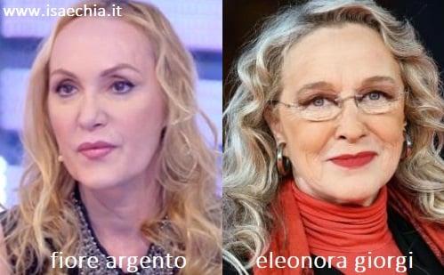 Somiglianza tra Fiore Argento e Eleonora Giorgi