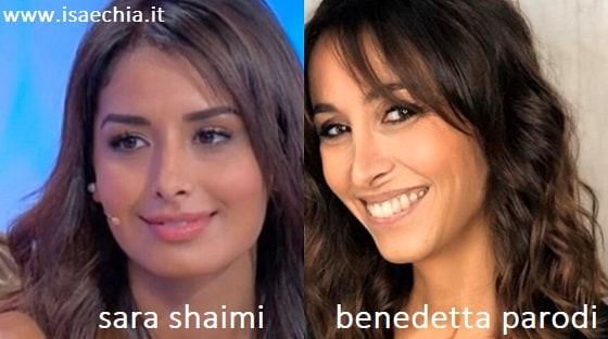 Somiglianza tra Sara Shaimi e Benedetta Parodi