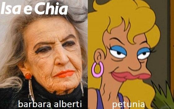 Somiglianza Barbara Alberti e Petunia