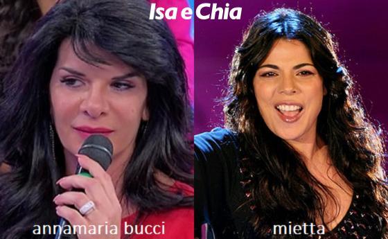 Somiglianza tra Annamaria Bucci, dama del Trono over di 'Uomini e Donne', e Mietta